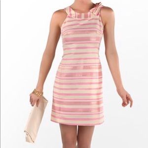 Lilly Pulitzer Elias Pink Gold Stripe Bow Dress